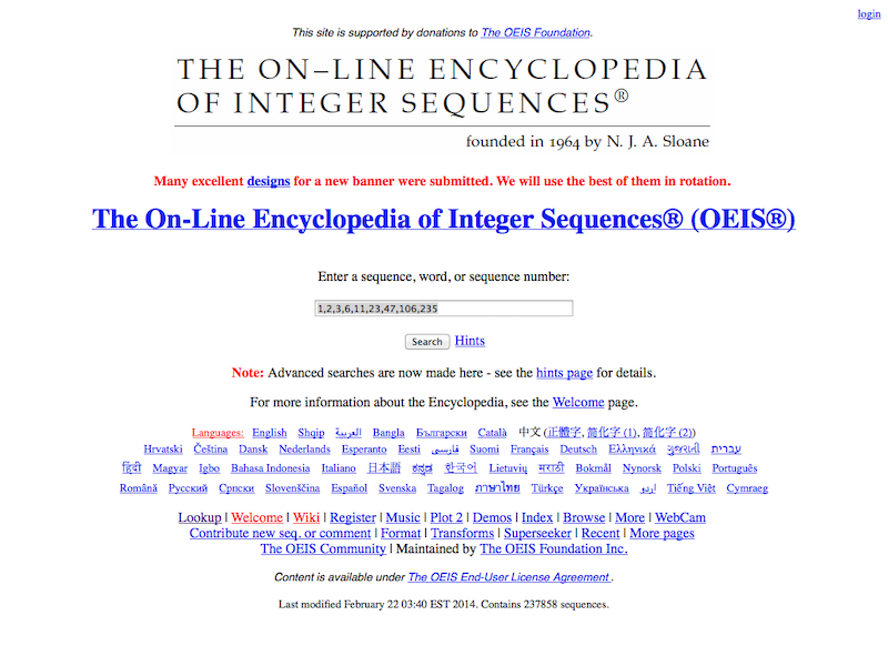 The On-Line Encyclopedia of Integer Sequences - MathsLinks