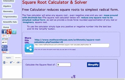 Square Root Calculator & Solver - MathsLinks