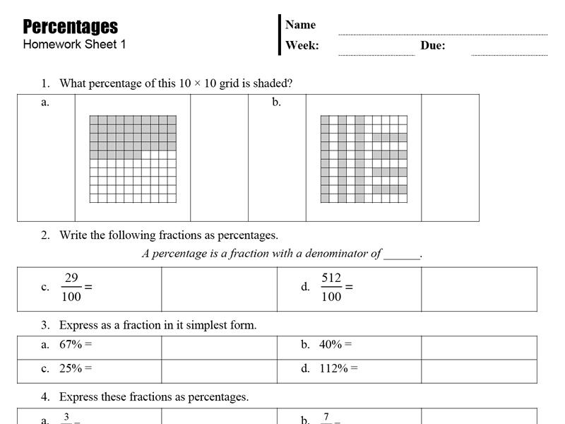 Math homework help percentages
