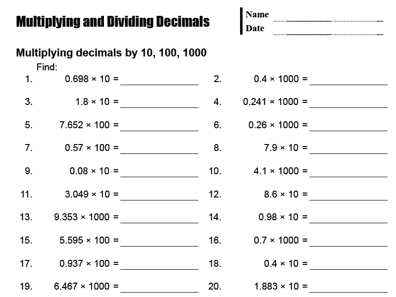 Multiplying And Dividing Decimals - MathsFaculty