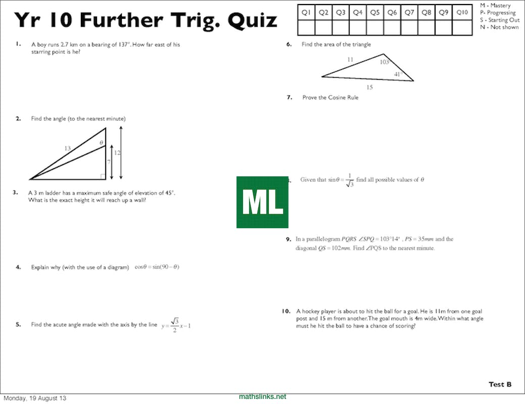Year 10 Further Trigonometry Quizzes (A, B, C, D