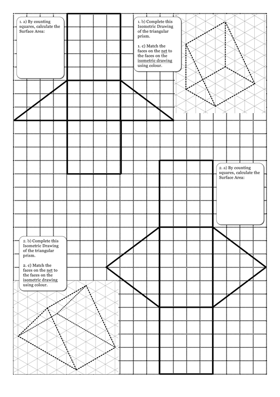 Triangular Prism Surface Area Answers