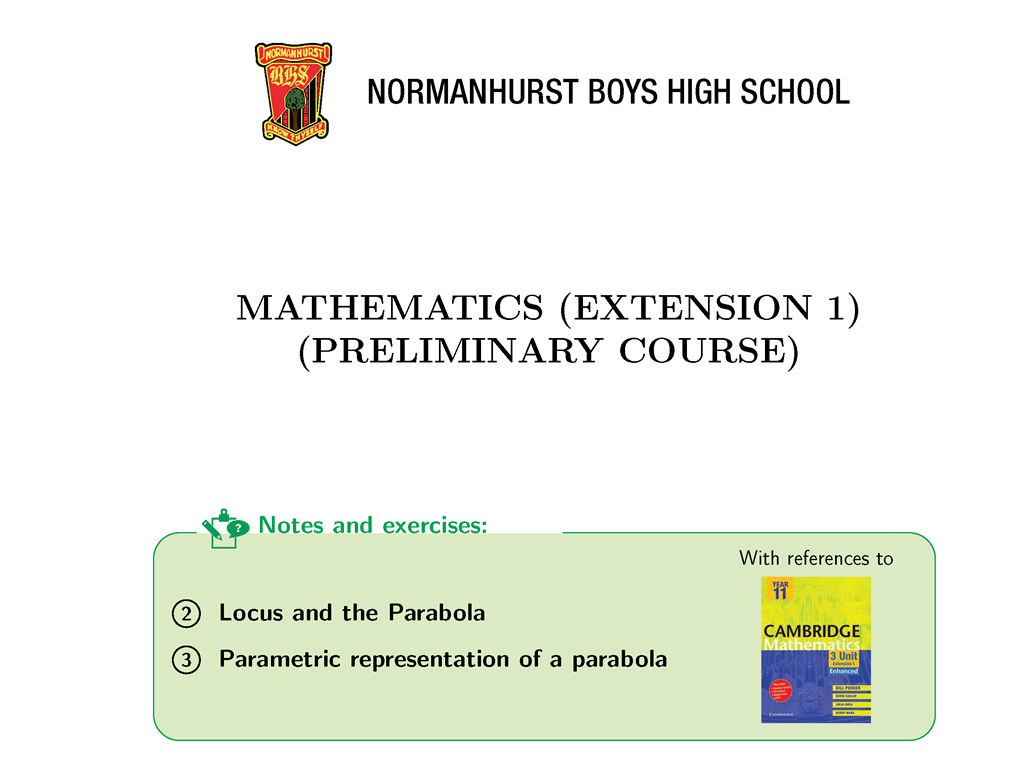 Pdf focus hsc in maths 1 extension