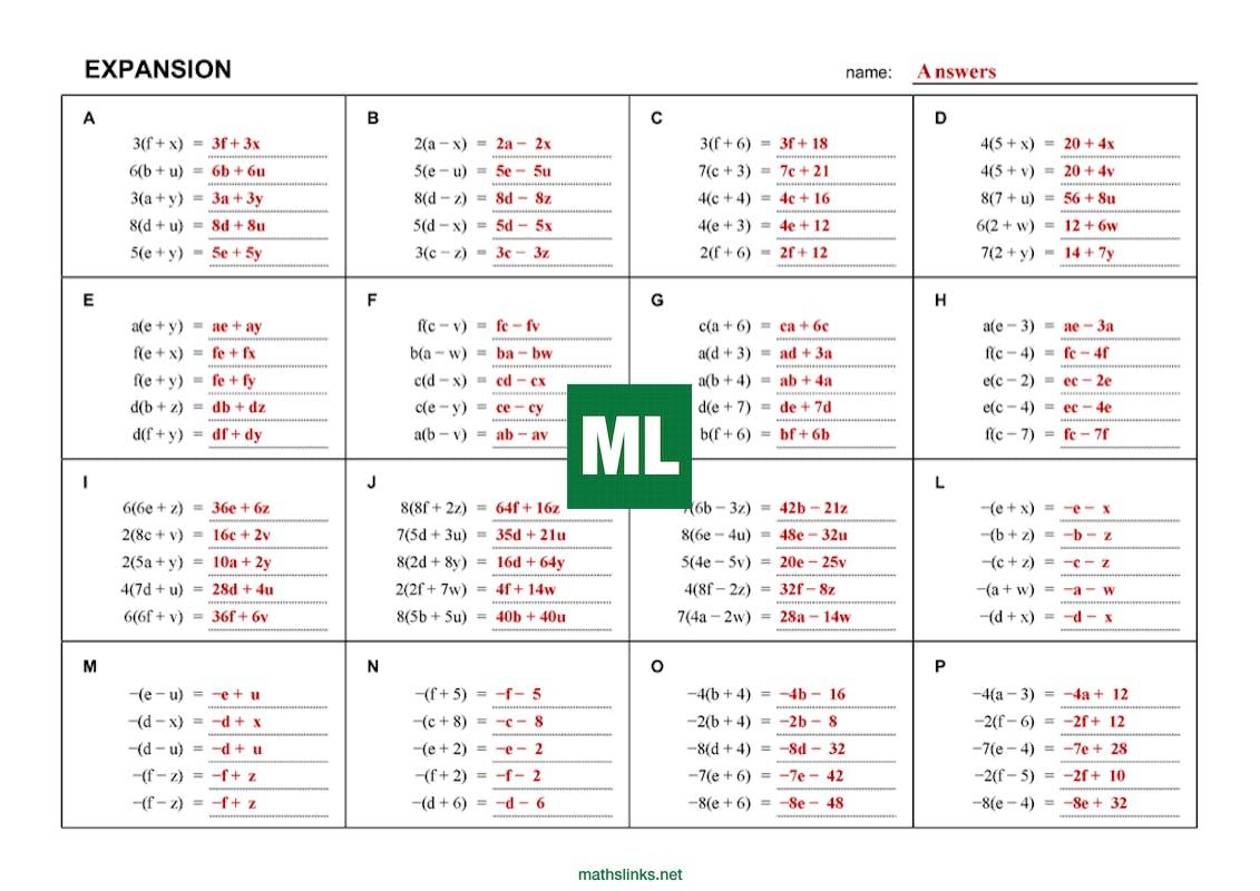Expansion infinite worksheet - MathsFaculty